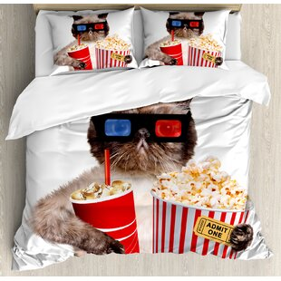 East Urban Home Movie Theater Cat with Popcorn and Drink Watching Movie Glasses Entertainment Cinema Duvet Set