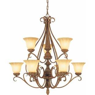 Volume Lighting Capri 9-Light Shaded Chandelier