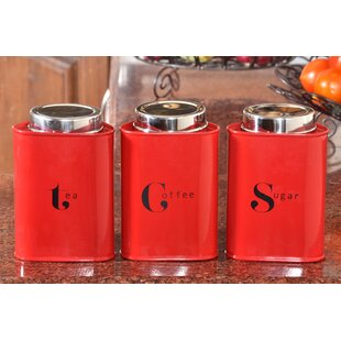 Airtight Powder Coated 3 Piece Triangular Kitchen Canister Set
