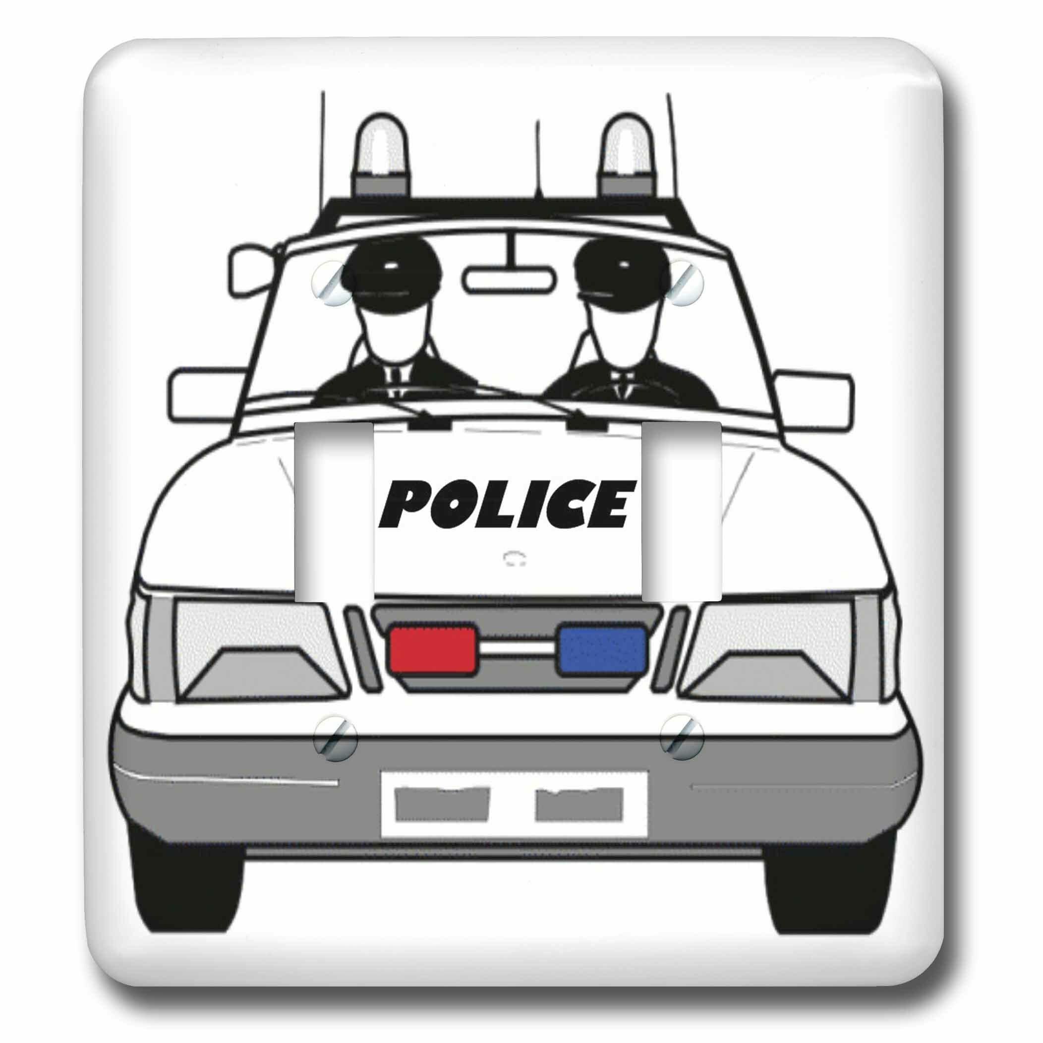 3drose Police Car With 2 Policemen 2 Gang Toggle Light Switch Wall Plate Wayfair