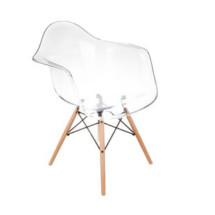 Compare prices Quast Acrylic Dining Chair with Wood Base by Orren Ellis Reviews (2019) & Buyer's Guide