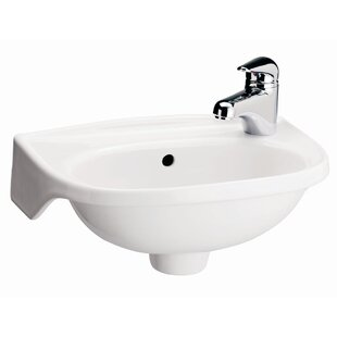 Order Tina Vitreous China 15.75 Wall Mount Bathroom Sink with Overflow By Barclay