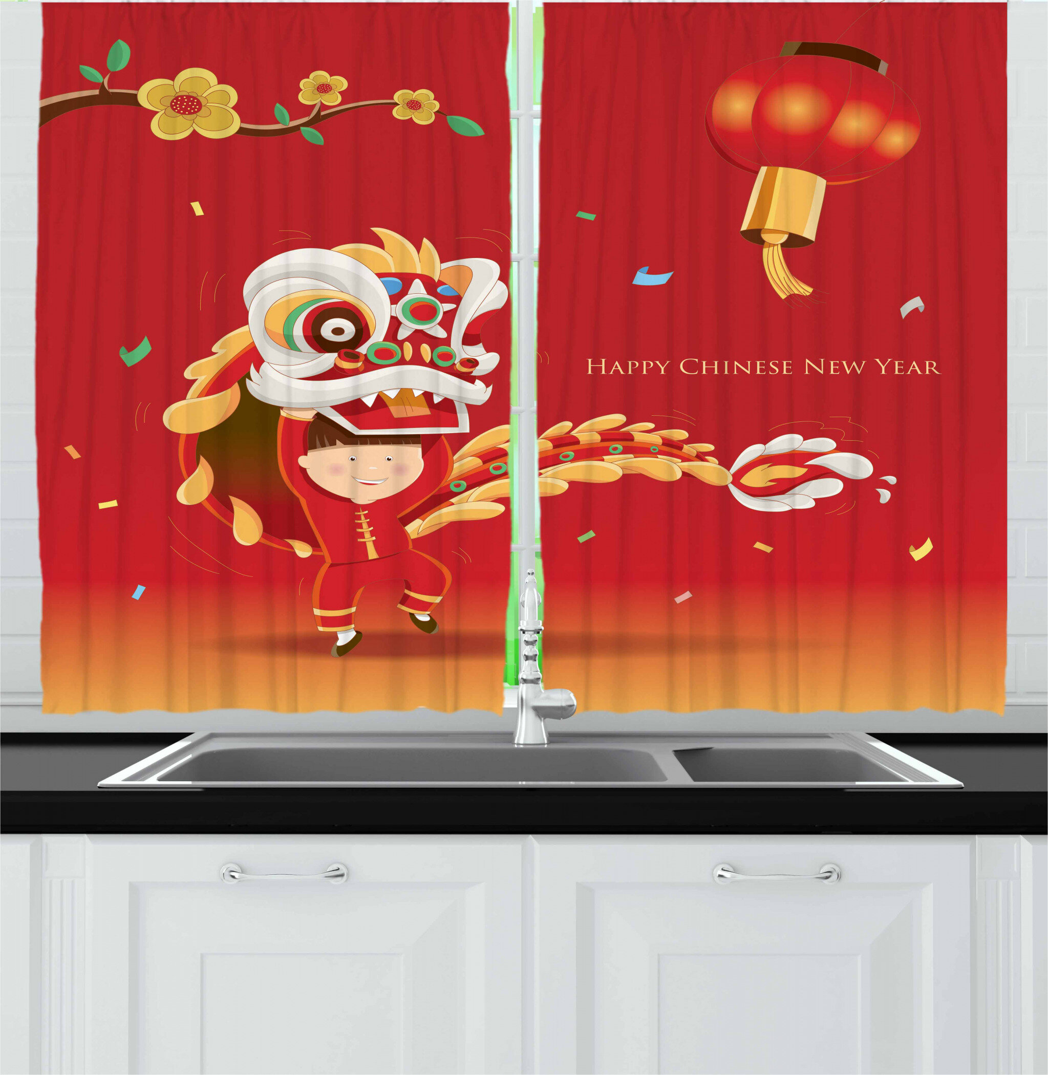 East Urban Home Chinese New Year 2 Piece Kitchen Curtain Set Wayfair