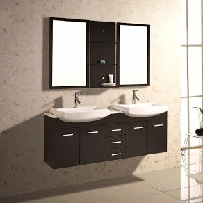 60 Double Floating Bathroom Vanity Set With Mirror And Shelves