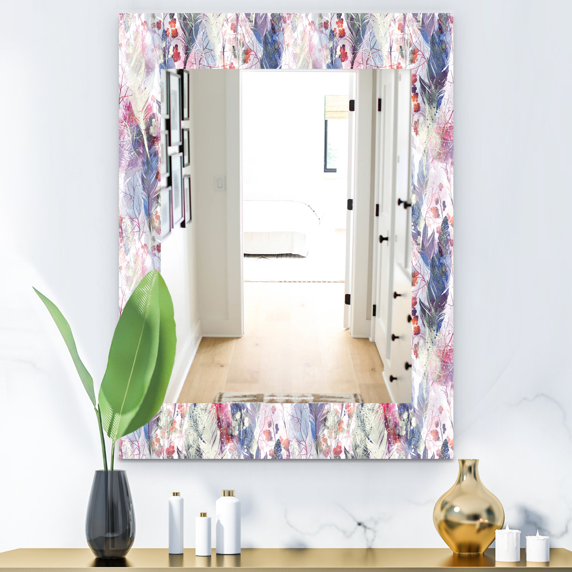 East Urban Home Feathers Eclectic Frameless Accent Mirror