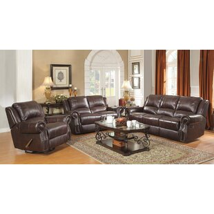 Algona 3 Piece Leather Reclining Living R..