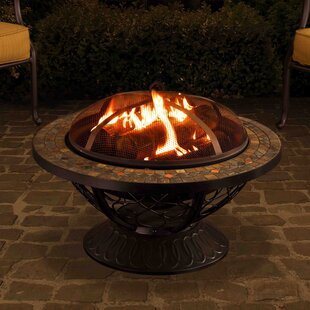 Sunjoy Monica Steel Wood Burning Fire Pit Table