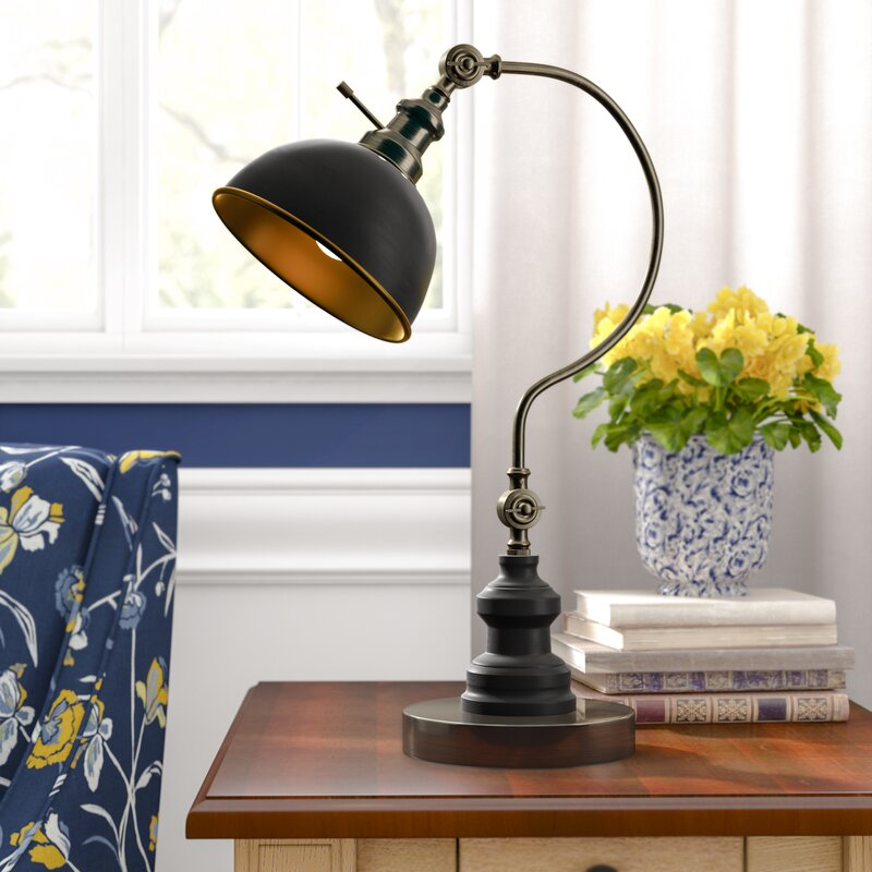 "Diederich 2 Point Adjustable Goose Neck 22"" Arched Table Lamp"