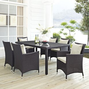 Latitude Run Ryele 7 Piece Outdoor Patio Dining Set with Cushions