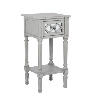 Lawler Mirrored Pinewood Side Table With Storage
