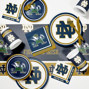 89 Piece University of Notre Dame Game Day Party Paper/Plastic Dinner Supplies Kit Set By Creative Converting