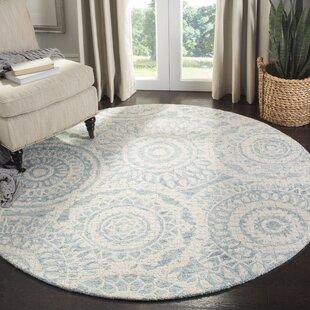 Salerna Hand-Tufted Wool Ivory/Blue Area Rug by Ophelia & Co.
