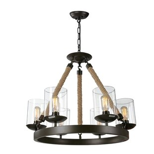 Buy clear 6-Light Wagon Wheel Chandelier By LNC Home