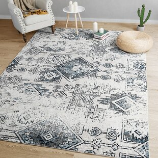 Rosenthal Distressed Blue/White Area Rug By Union Rustic