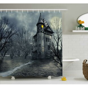 Affordable Price Halloween Decor Haunted House in Black Shower Curtain By The Holiday Aisle