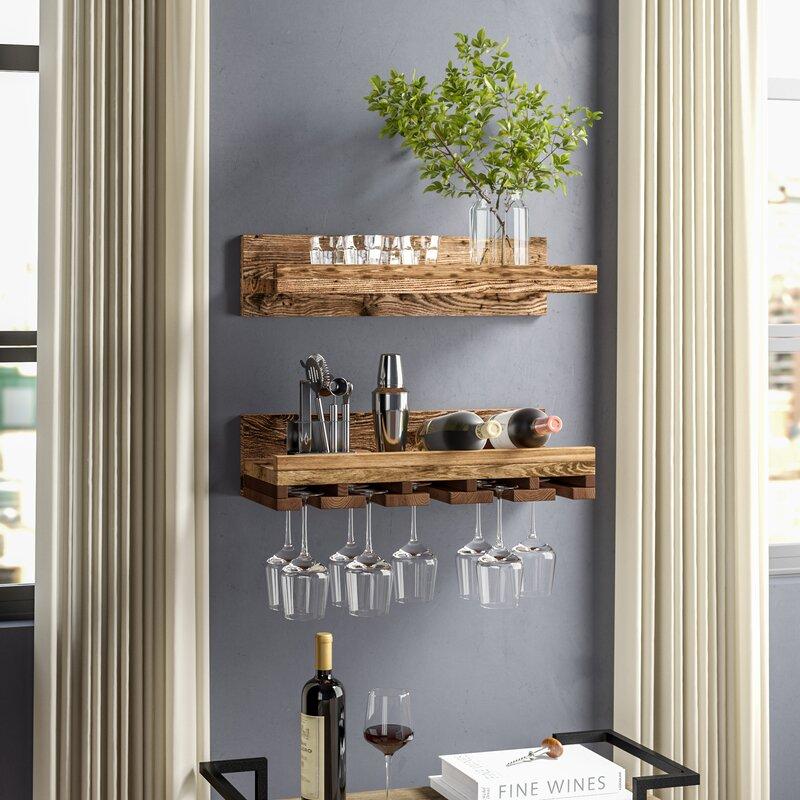 2 Rows Bronze Stainless Steel Wall-Mounted Wine Glass Hanger Rack Shelf Bar Home