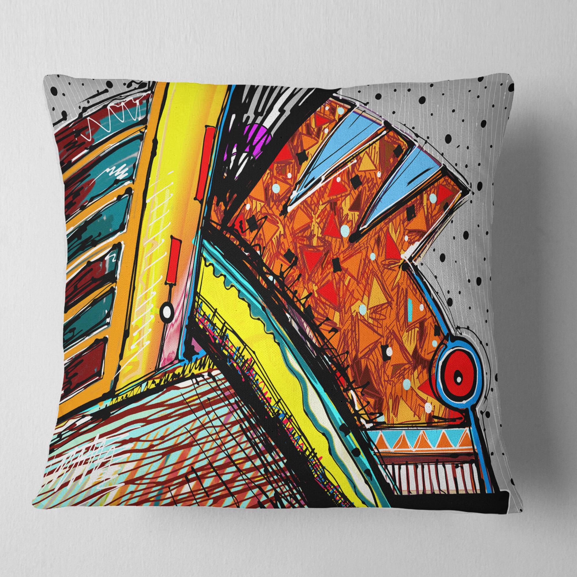 East Urban Home Colorful Abstract Illustration Throw Pillow Wayfair