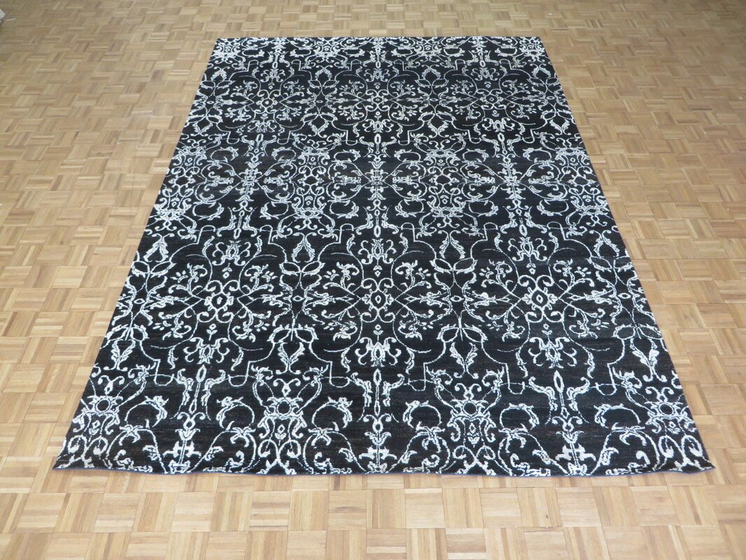 One Of A Kind Josephson Damask Hand Knotted Black Area Rug