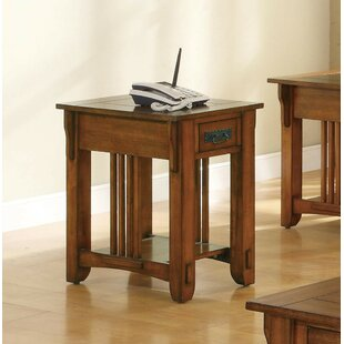 August Grove Pagoda Occasional Drawer End Table