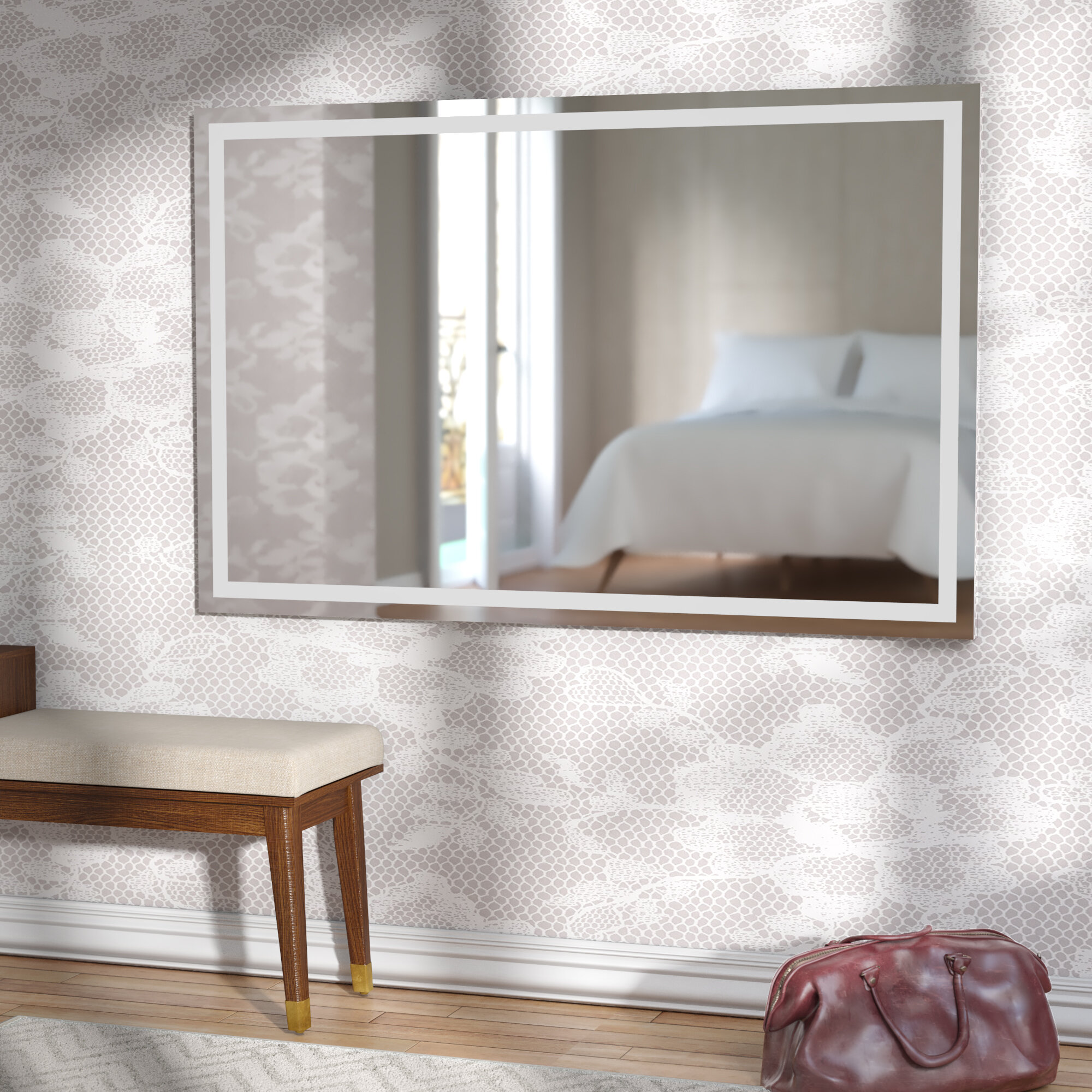 delivery wood white shelf collections l ledge x edge mirrors free william shelves shabby chic mirror with