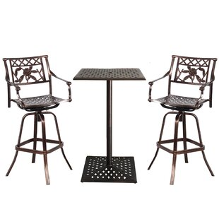 Fleur De Lis Living Thornton Rose Cast Aluminum 3 Piece Bar Height Dining Set