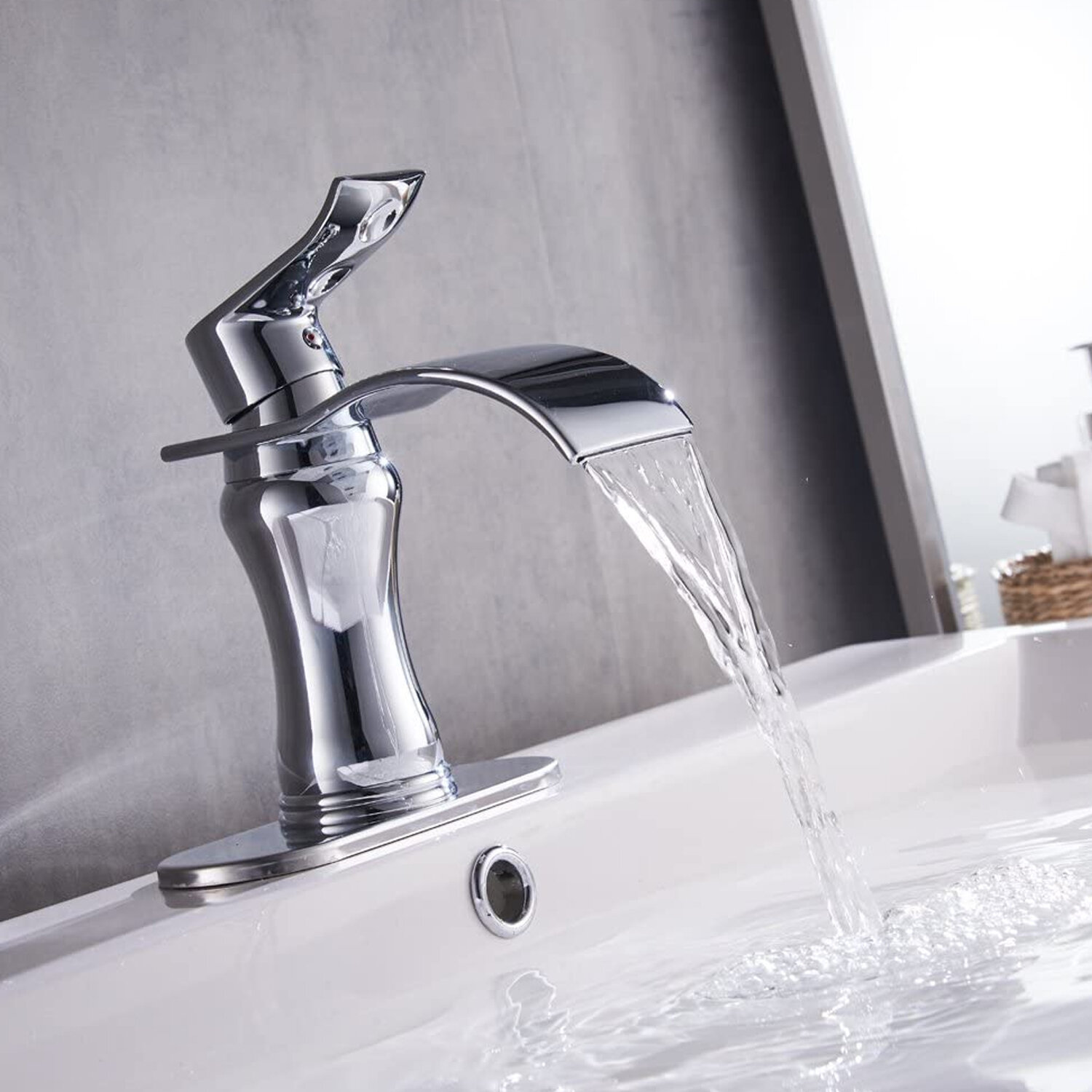 Waterfall Bathroom Faucet Stainless steel Single Handle Sink Tap 1Hole Mixer Tap