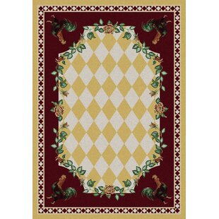 Novelty High Country Rooster Yellow Area Rug