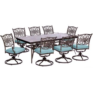 Three Posts Lauritsen 9 Piece Bold & Eclectic Modern Dining Set with Cushions