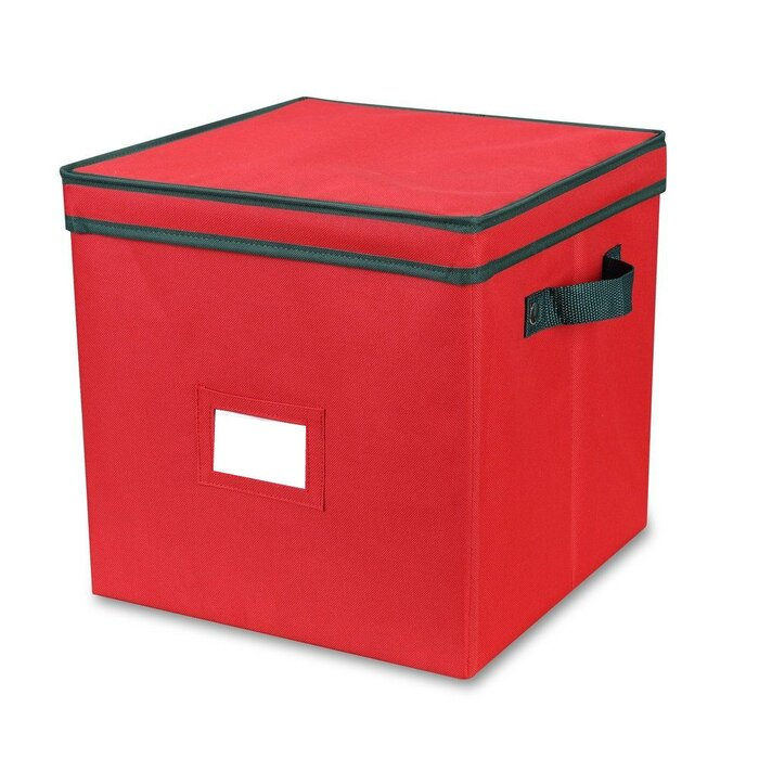 Home Clad Christmas Ornament Storage Box With Lid And Adjustable Divider