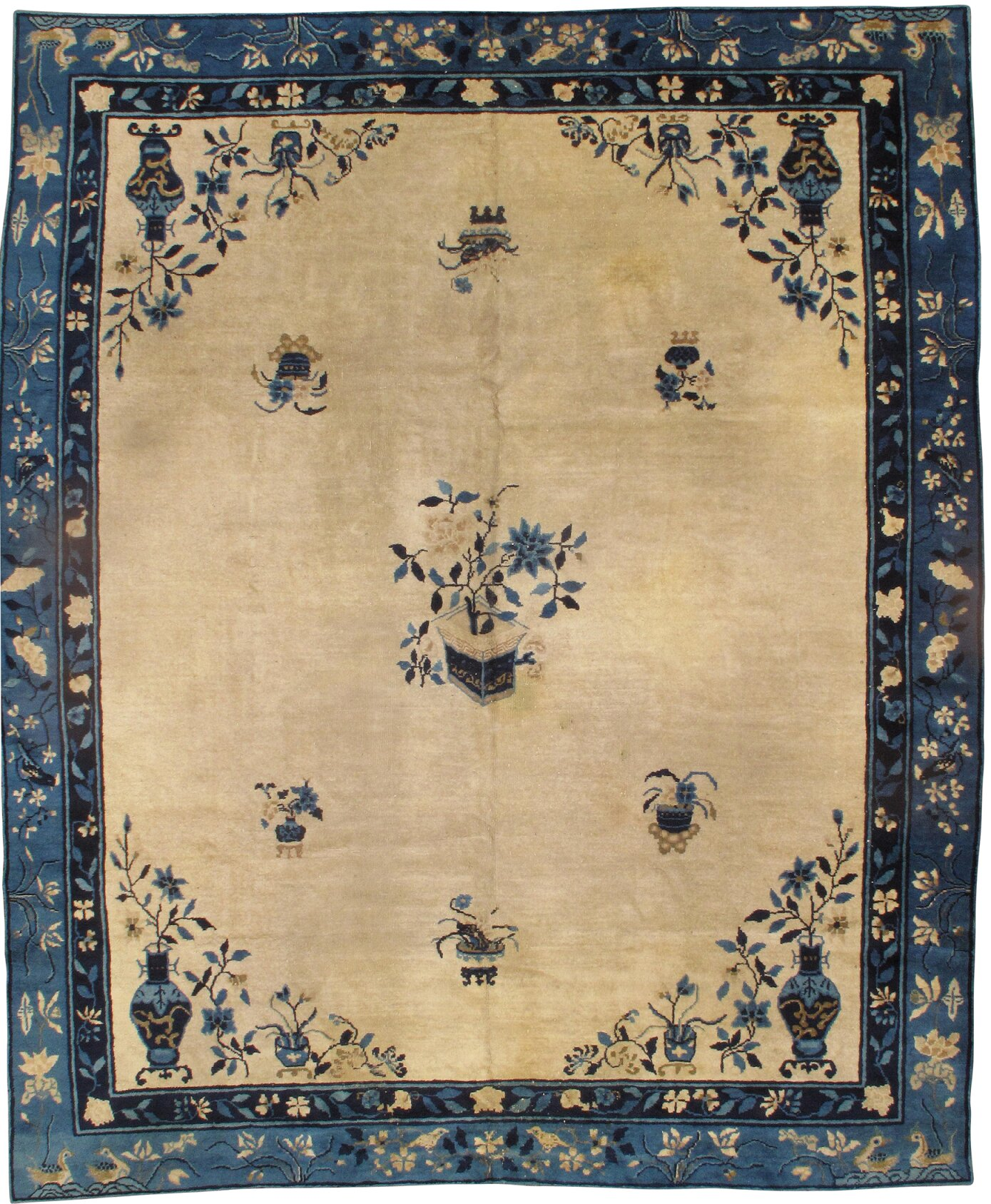 Chinese Hand Knotted Wool Rugs.Chinese Peking Hand Knotted Wool Ivory Blue Area Rug