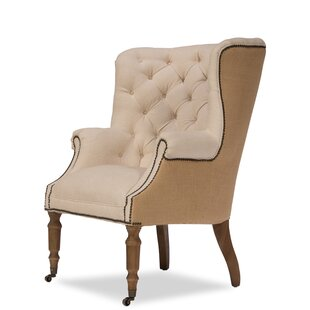 Sarreid Ltd Welsh Linen and Jute Wingback Chair