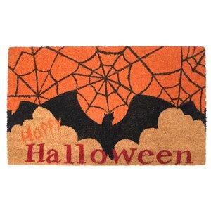 Happy Halloween Batand Spider Web Doormat