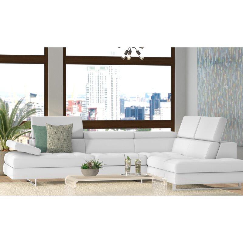 Orren Ellis Abgail 114 Wide Genuine Leather Sofa Chaise Reviews Wayfair