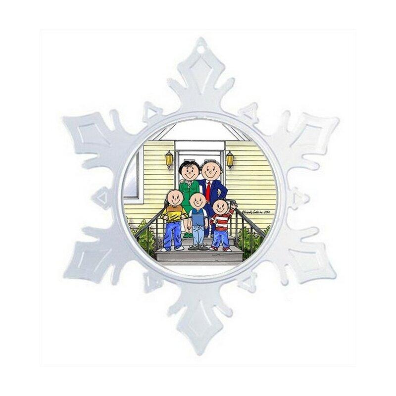 The Holiday Aisle Personalized Friendly Folks Cartoon Snowflake Family Home Couple Three Boys Christmas Holiday Shaped Ornament Wayfair