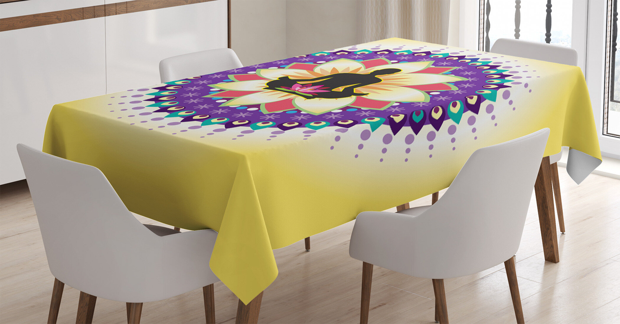 East Urban Home Ambesonne Yoga Tablecloth Round Circle For Lotus Sitting Posture Peaceful Mind Workout Print Rectangular Table Cover Dining Room Kitchen Decor 52 X 70 Yellow Purple Black Wayfair