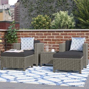 Delfino 5 Piece Rattan Seating Group with Cushions