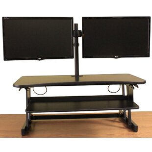 Cheverton DADR Height Adjustable Sit to Standing Desk Riser and Converter 37 Black with Dual Monitor Mount