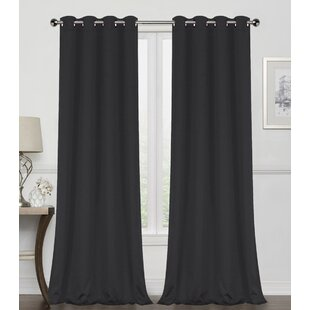 Edmondson Solid Max Blackout Thermal Grommet Curtain Panels (Set of 2) by Breakwater Bay