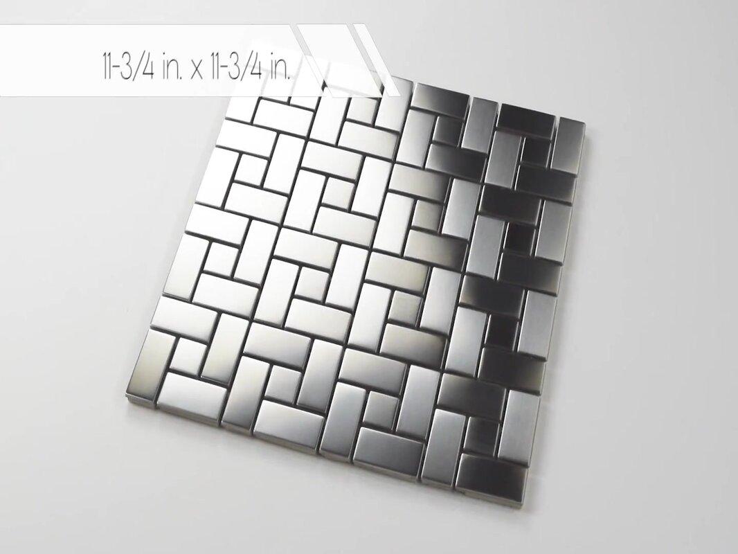 EliteTile Random Sized Metal/Porcelain Mosaic Tile in Stainless ...