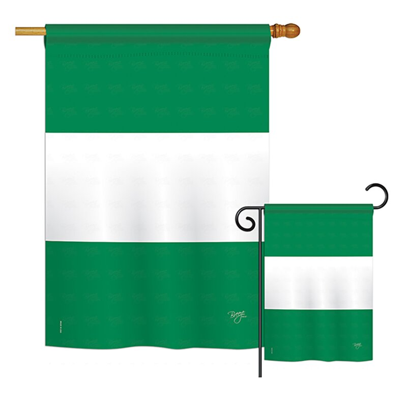Breeze Decor 2 Piece Nigeria Of The World Nationality Impressions Decorative Vertical 2 Sided Polyester Flag Set Wayfair