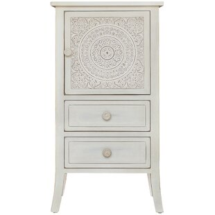 Whitt Antiqued Carved 1 Door Accent Cabinet