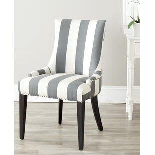 Alpha Centauri Upholstered Side Chair in Linen - Gray Stripe with Carpenter Nailheads Brayden Studio
