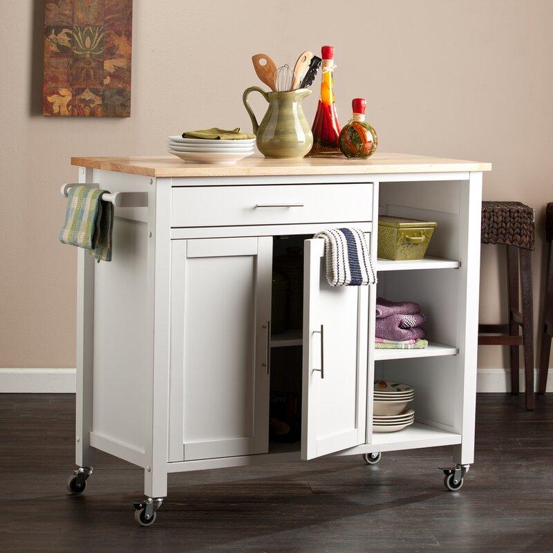Landau Kitchen Cart With Butcher Block Top