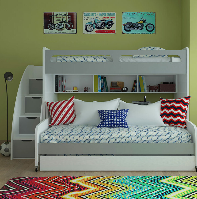 Brayden Studio Gautreau Twin Futon Bunk Bed With Table And Trundle Reviews Wayfair