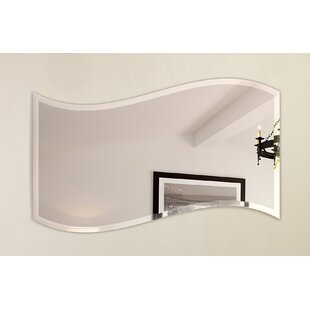 Price Check Wavy Beveled Polish Frameless Wall Mirror with Hooks ByFab Glass and Mirror