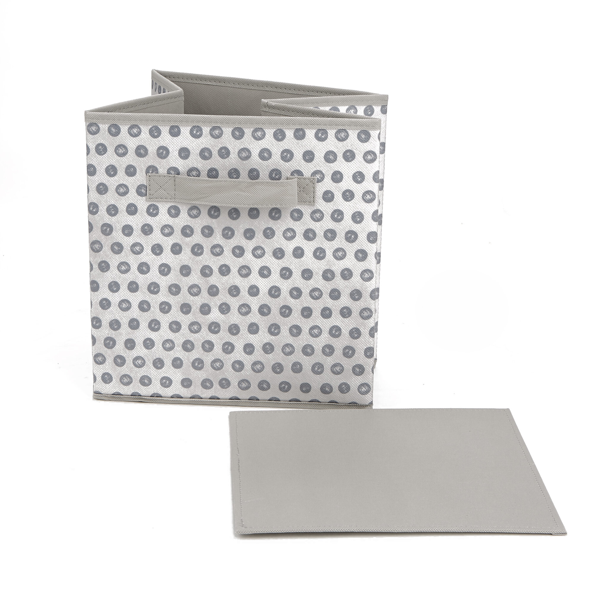 Mind Reader Storage Bin Dots Design Foldable Storage Basket With Handles Decorative Storage Bins Cube Organizer Bin Bathroom Bedroom Children S