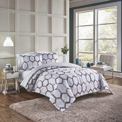 Suwanee Reversible Comforter Set Wrought Studio Size: Queen Comforter + 2 Shams, Color: Neutral