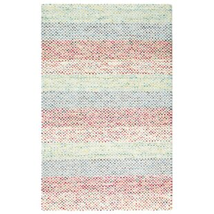 Sampler Stripe Hand-Woven Blue/Pink Indoor/Outdoor Area Rug