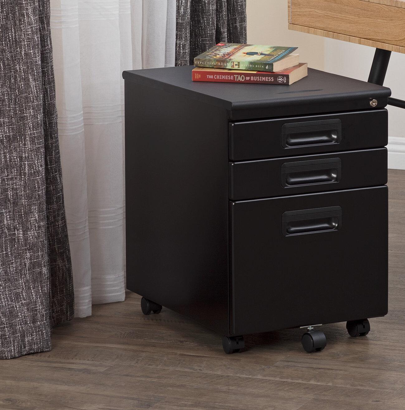 Calico Designs Metal Rolling 3 Drawer Mobile Vertical Filing Cabinet Reviews Wayfair