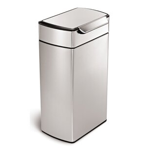 simplehuman 10.6 Gallon Rectangular Touch-Bar Trash Can, Brushed Stainless Steel